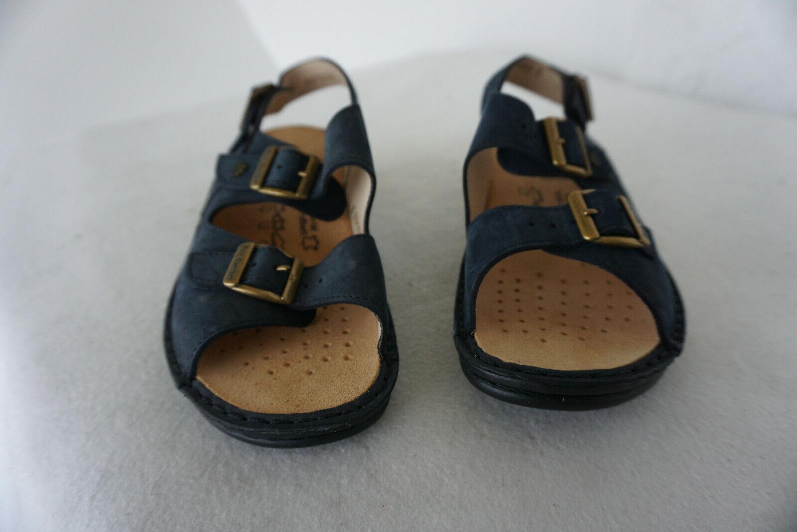 FINN COMFORT Damen Sommer Schuhe Sandale Einlagen Gr.37 marine Nubuk Leder NEU