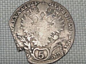 Austria-Empire-Hapsburg-Franz-II-5-Silver-1821-Kreuzer-Crowned-Double-Head-Eagle