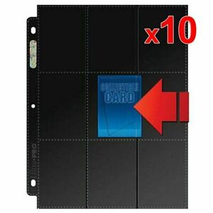 10-x-Ultra-Pro-Side-Load-9-18-Pocket-Black-Card-Sleeves-Pages-Double-Sided