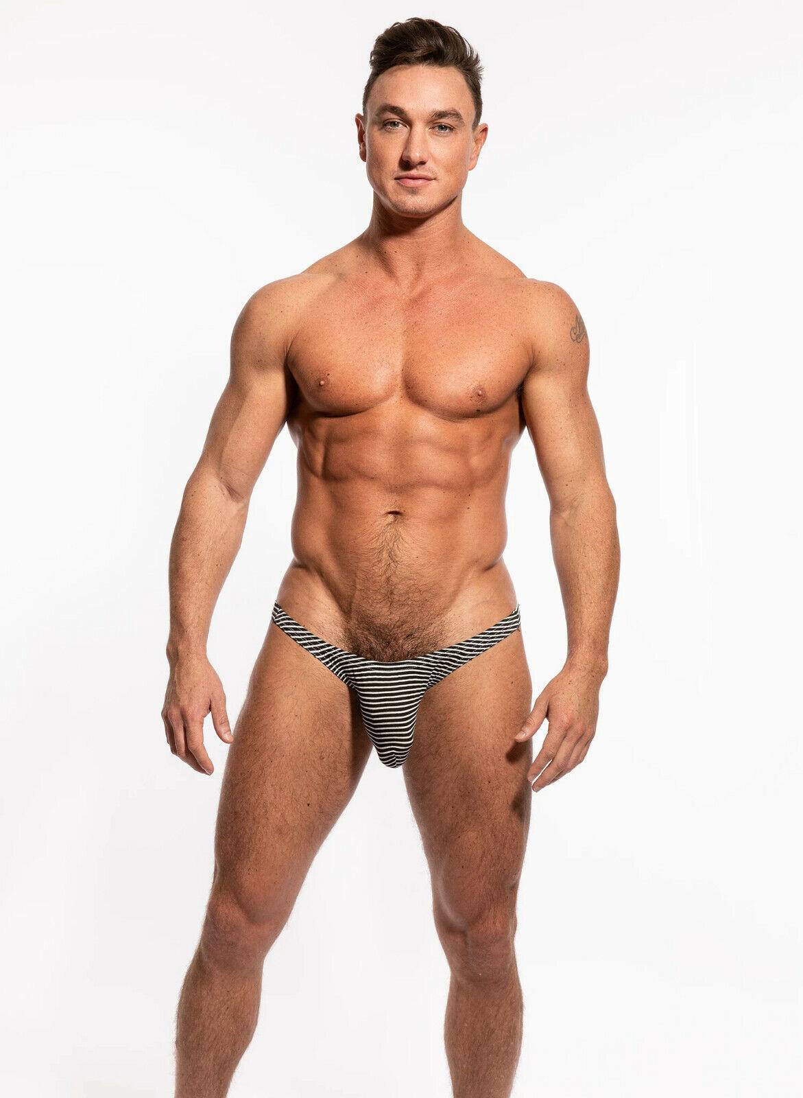 N2N Bodywear Men black mesh net thong g-string underwear Size S or L