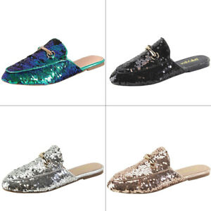 ae4924e8ba4 Image is loading Sequin-Embellished-Horsebit-Ornament-Loafer-Flat-Slide- Mules-