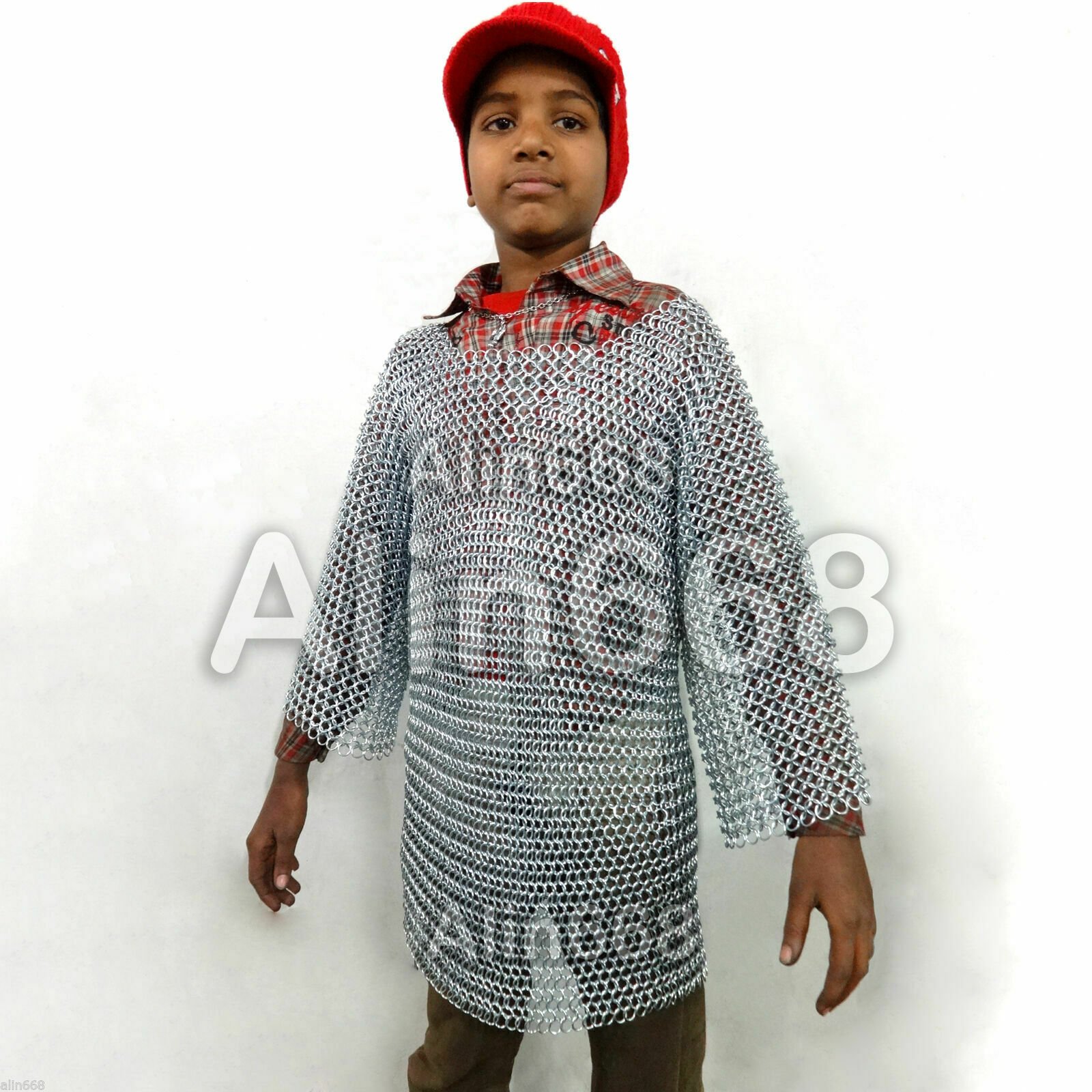 Lightweight Aluminum Chainmail Shirt 10-15 yrs child Medieval Chain Mail Costume