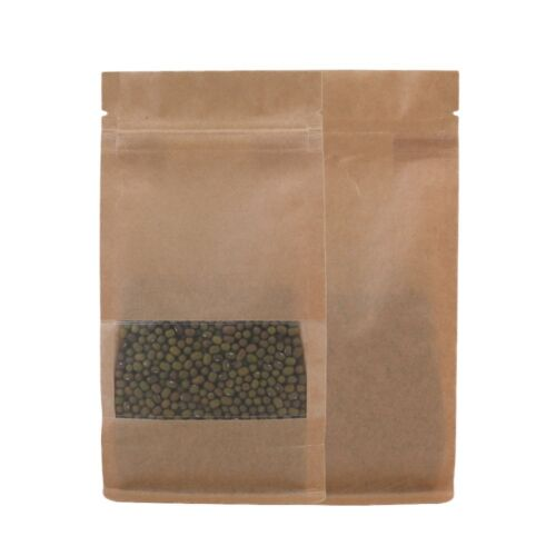 Stand Up 100 Heavy Duty Kraft Clear Mylar Zip Lock Bags  4x7.75in A488
