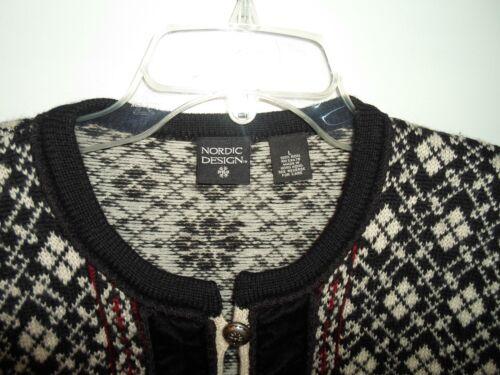 Cardigan 100 Boutons Design Noir burg Métal Vtg ivoire Veste Pull Nordic laine qwFTnEIR