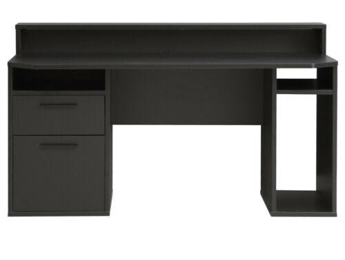TEZO III Gaming Schreibtisch Gamertisch Dekor Schwarz matt 160x72cm viele Fächer
