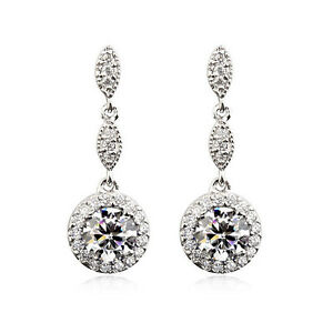 STUNNING-18K-WHITE-GP-GENUINE-CLEAR-AUSTRIAN-CRYSTAL-AND-CZ-DANGLE-EARRINGS