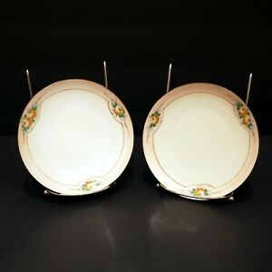 Vintage-Set-of-2-Meito-China-James-Studio-Dessert-Bread-Plates-Made-in-Japan
