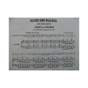 Gounod-Charles-Faust-Escena-Und-Waltz-Piano-Violonchelo-1862-Partitura-Hoja-Mus
