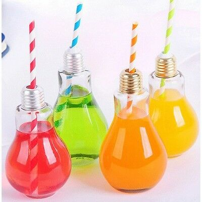 LIGHT BULB  Drinking jar Cocktail Glass with straw lid Novelty Party Gift
