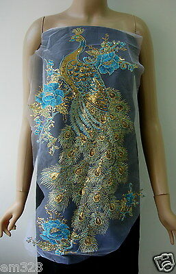 VB46-2 Large Pheonix Peacock Embroidery Sequined Trim Tulle Aqua