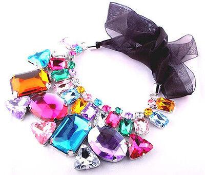 Women Jewelry Charm Necklace Irregular Chunky Statement Bib Pendant Choker Chain