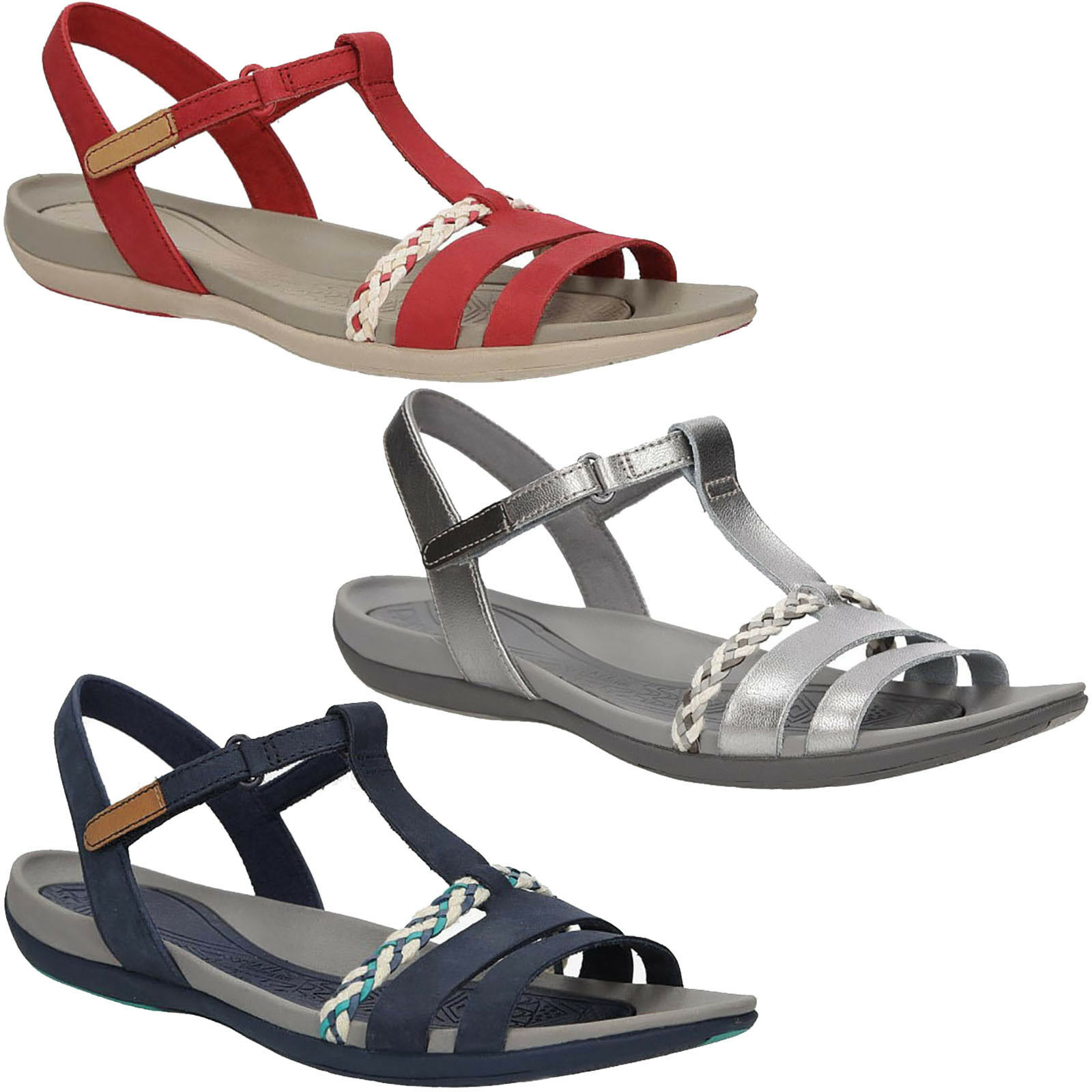 Damen Sandaletten Clarks Tealite 26123943 Leder Klettverschluss Gr. 36-41 SALE %