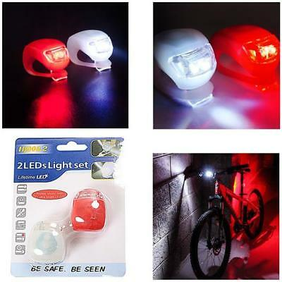 2 LED SILICONE MOUNTAIN BIKE BICYCLE FRONT REAR LIGHTS SET SAFTEY CYCLE LIGHT