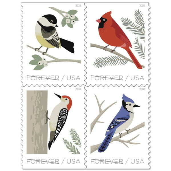 2018 50c Birds In Winter Cardinal Blue Jay Booklet Of 20 Scott 5317