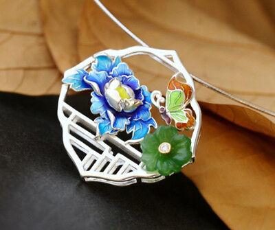 100% Wahr C06 Anhänger Blüte Blau Und Grüner Jaspis Schmetterling Sterling Silber 925