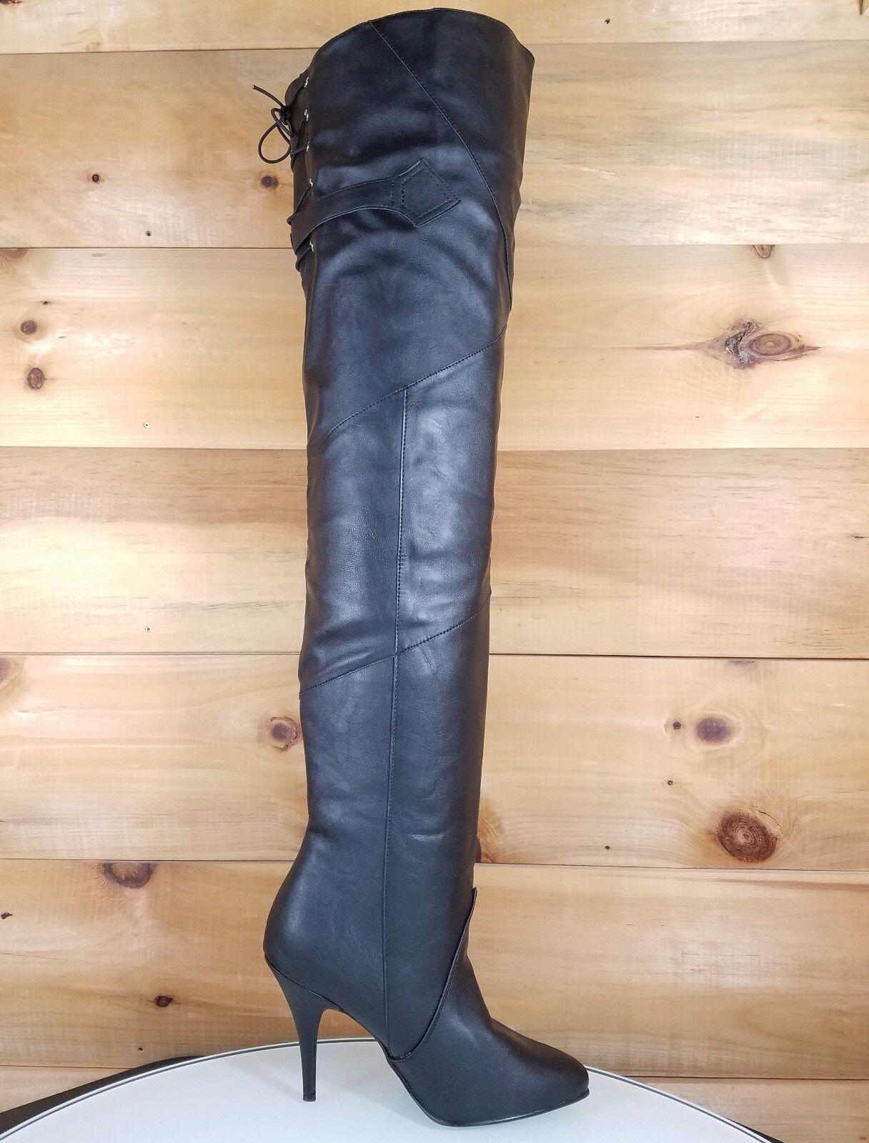 Leyenda 8890 Negro Cuero a la rodilla rodilla rodilla muslo Tacón alto 4.25  de arranque alto talla 10 Nuevo  ventas en línea de venta