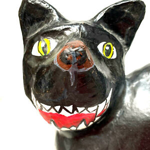 """Vintage Halloween Cat Hand Made Paper Mache Large 18"""""""