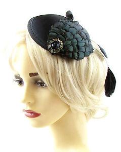 Image is loading Black-Dark-Green-Pheasant-Feather-Fascinator-Headpiece-Hat- 035feb7eab8