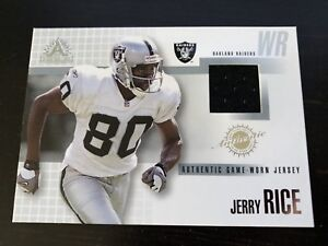 98258ef6c 2002 JERRY RICE ADRENALINE JERSEY PATCH RAIDERS 49ERS GAME USED HOF ...