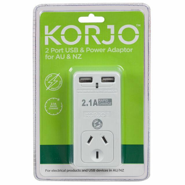 Korjo 2 Port USB & Power Adaptor For Aus & NZ