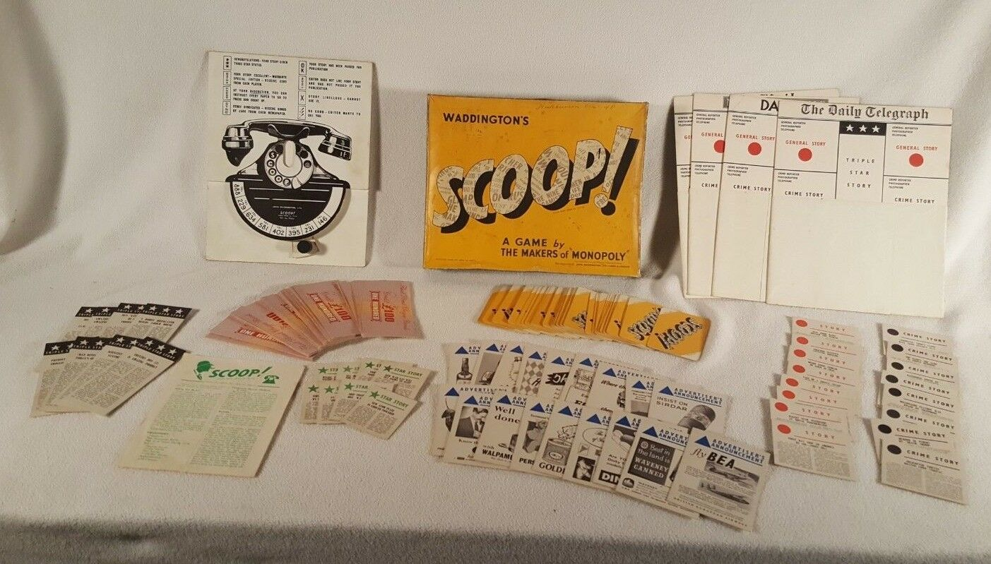 Waddington scoop brettspiel 1955 journalist spiel vintage - england