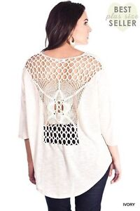 2086d9ad0d NEW Umgee Shirt Ivory Crochet Lace Back Loose Knit Sweater Blouse ...