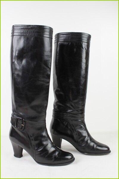 VINTAGE Black Leather Boots T 35 TBE