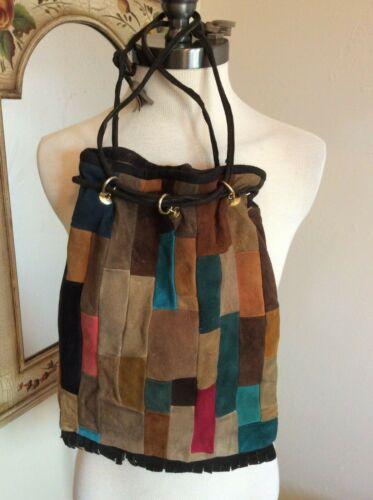 Vintage Women's Purse Handbag Leather Patchwork 60