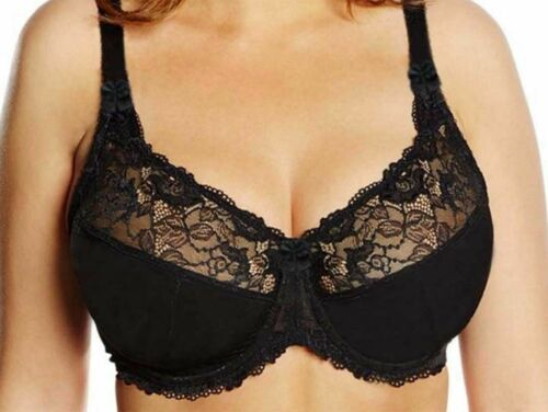 SIZE 34-44 BLACK /& WHITE B-DD LACE FULL CUP NON-PADDED SUPPORT UNDERWIRED BRA