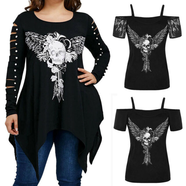 Plus Size Women Gothic Punk Skull Blouse Casual Irregular Long Sleeve Tops Shirt
