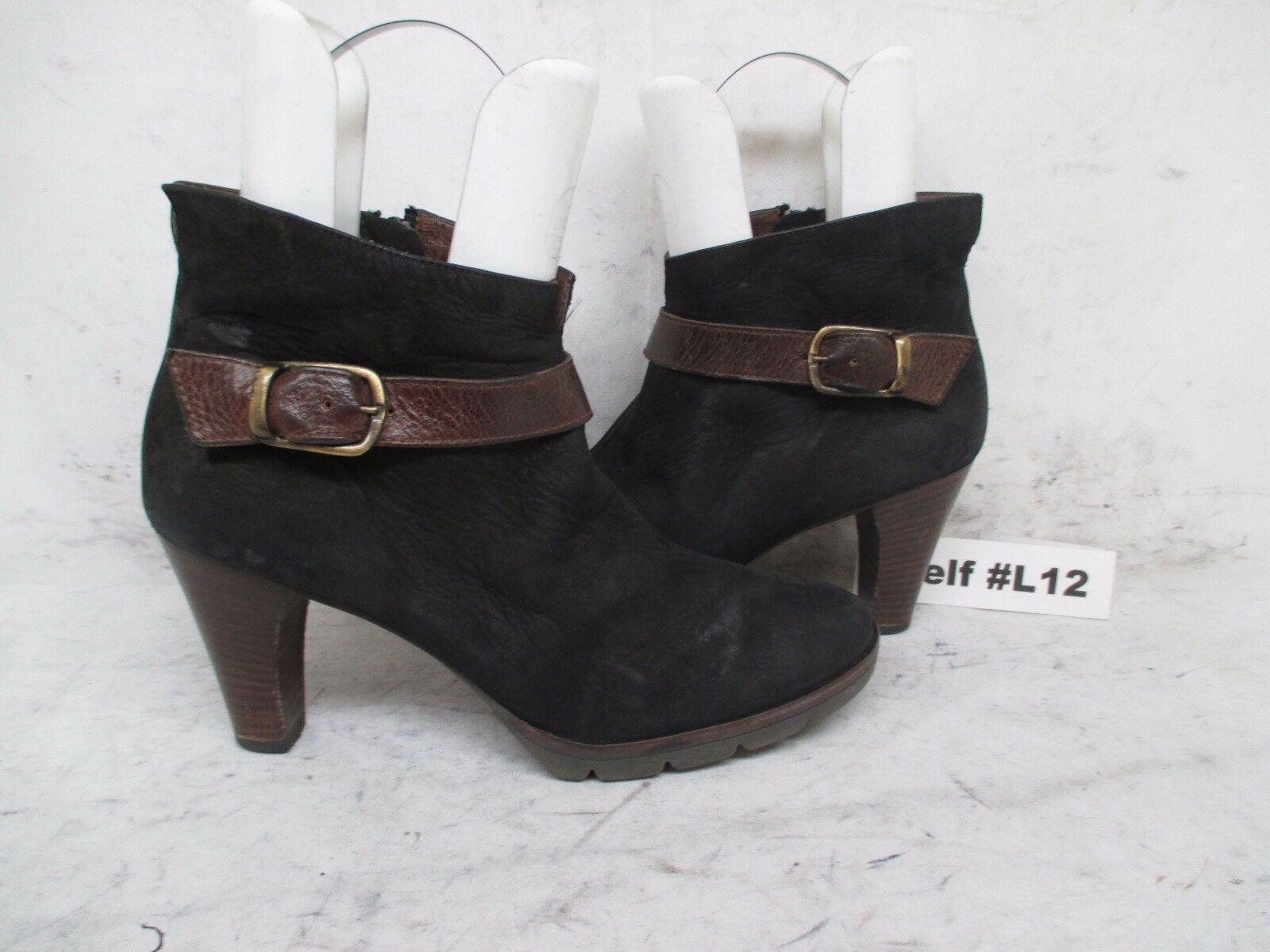 PAUL GREEN KARLA Black Leather High Heel Zip Ankle Boots Size UK 5.5 US 7.5