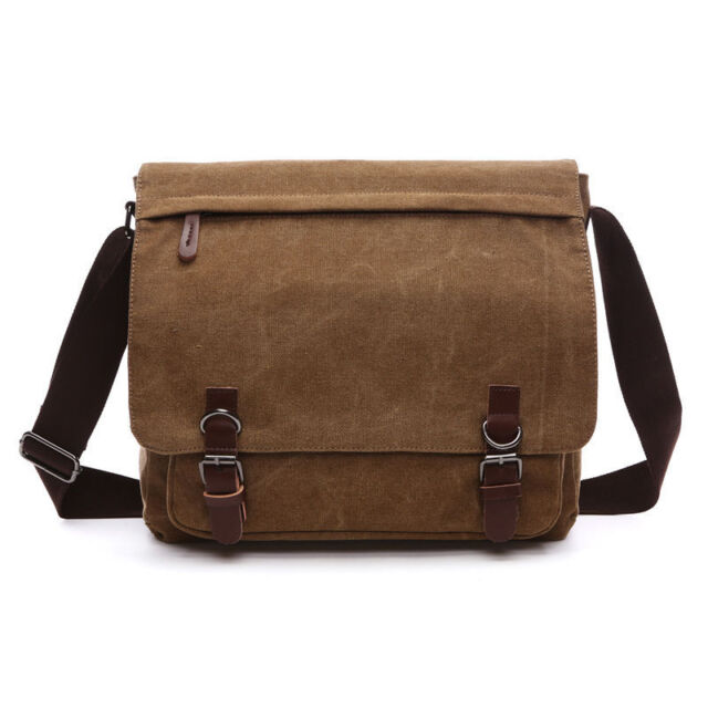 Men's Soft Vintage Canvas Leather School Military Shoulder Messenger Bag Satchel