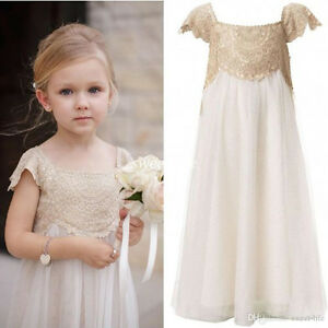 2017 Lace Chiffon Flower Girl Dress Beach Children Birthday Kids ...
