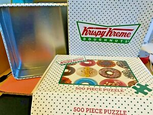 Jigsaw-Puzzles-500-Pieces-Krispy-Kreme-Doughnuts-Metal-Tin-Box-Games-Vintage