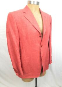 CANALI-100-LINEN-JACKET-Salmon-Pink-Blazer-38-US-48-EU-Made-in-Italy