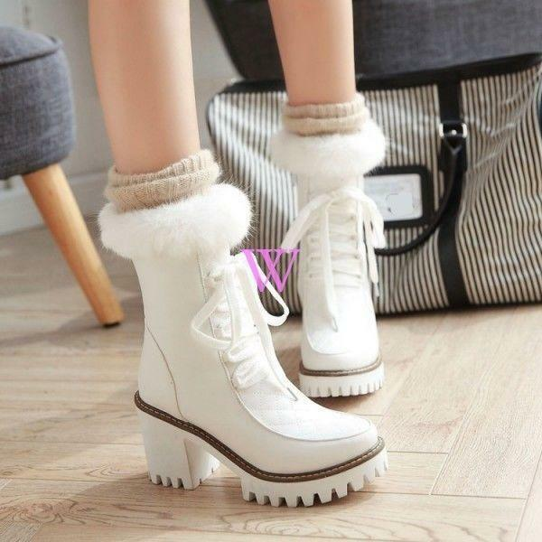 Womens round toe furry warm ankle boots snow boots shoes block high heel White