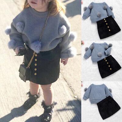 Toddler Kids Girls 2Pcs Clothes Girls Jumper Tops Skirt Dress Winter Outfits Set