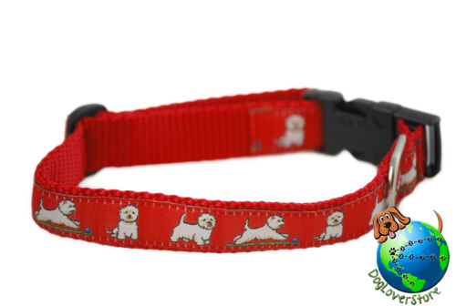 "Westie Adjustable Collar Medium 10-16/"" Red"
