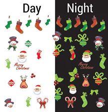 Nail Art Water Decals Glow in the Dark Merry Christmas Santa Snowman GID045
