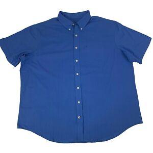 Izod-Mens-Size-2XL-Blue-Seaside-Popline-Short-Sleeve-Button-Front-Shirt