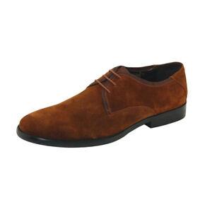CRC-Napa-Veau-Daim-Chaussures-en-cuir-homme-Plain-Toe-Oxford-Lace-Up-Chaussures-Marron