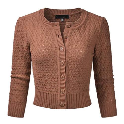 Femmes Boutonné Vêtements en Tricot CerisesCouleur Unie Court Gilet Pull Haut
