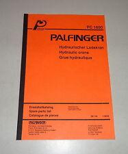 Teilekatalog / Spare Parts List Palfinger Krane PC 1600 Stand 08/1993