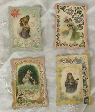 Set Of Four Victorian Valentine's Day Greeting Cards