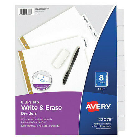 8 White Tabs 1 AVERY 7278223078 Avery® Big Tab™ Write /& Erase Dividers 23078