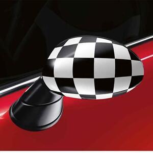 MINI-Cooper-R50-52-53-Checkered-Mirror-Caps-Covers-New-OEM