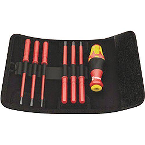 Wera KK VDE 60i 7 Insulated Interchangeable Blade Pouch Set (SLOT PH), 7 Piece,