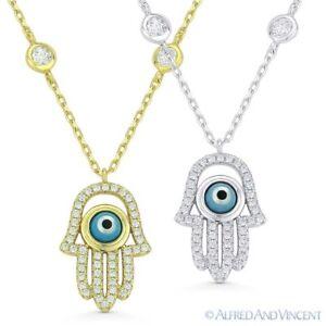 Hamsa-Hand-of-Fatima-Evil-Eye-Pendant-925-Sterling-Silver-amp-CZ-Bezel-Necklace