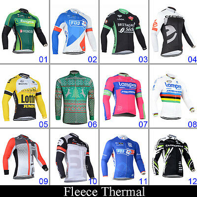 Winter Mens Thermal Fleece Cycling 3 Pockets Jerseys Long Sleeve Bicycle Garment