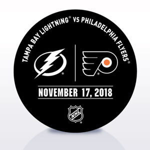 Philadelphia-Flyers-Issued-Unused-Warm-Up-Puck-11-17-18-Vs-Tampa-Bay-Lightning